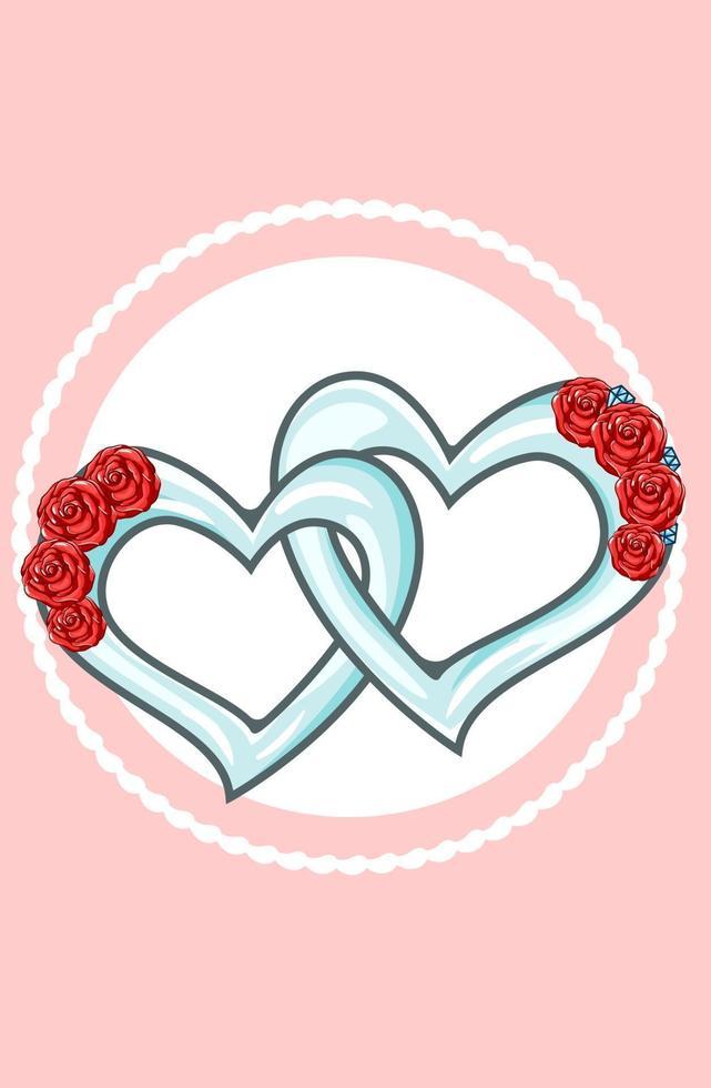 hjärtat smycken valentine par tecknad illustration vektor