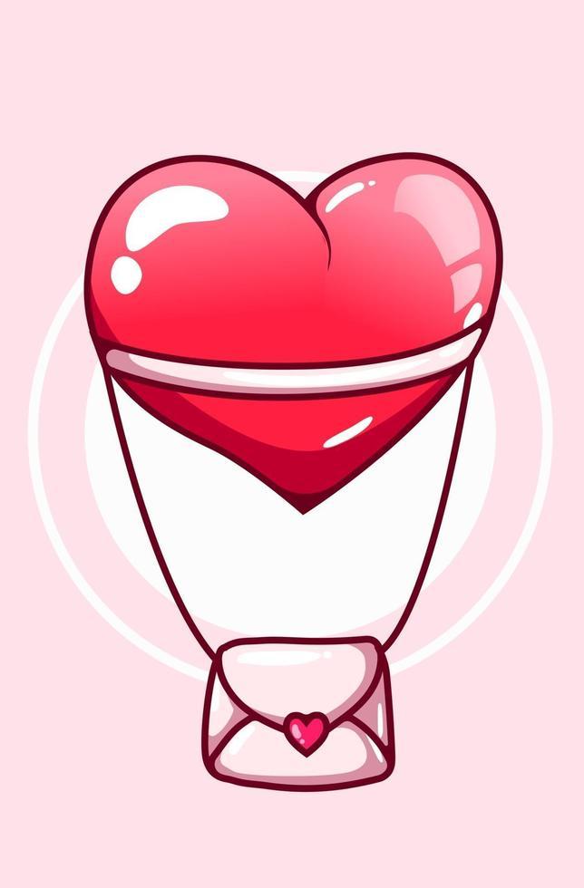 kärleksbrev som flyger med en stor hjärta tecknad illustration vektor