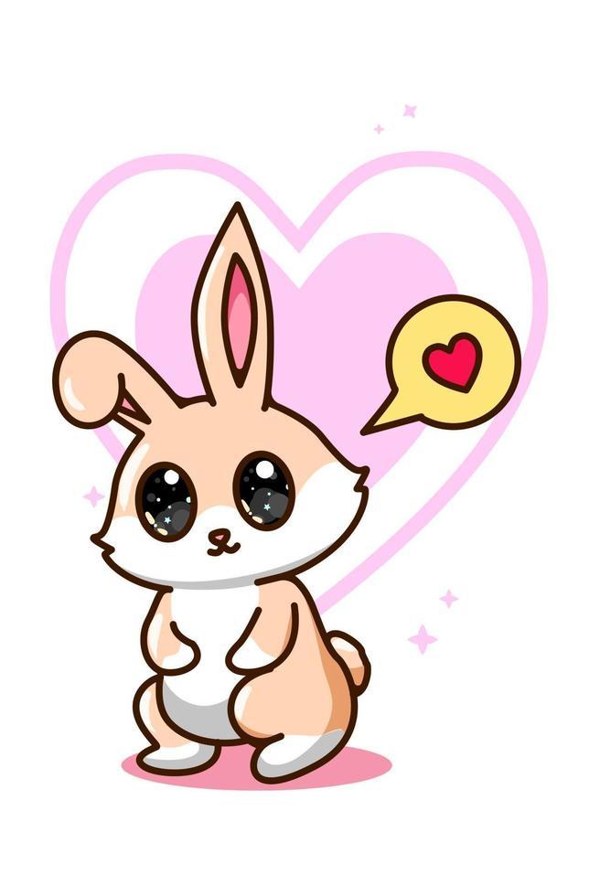 söt och söt kanin med tecknad illustration för hjärtanmälan vektor