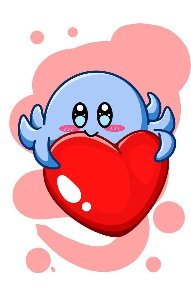 en söt blå bläckfisk med stor hjärta tecknad illustration vektor