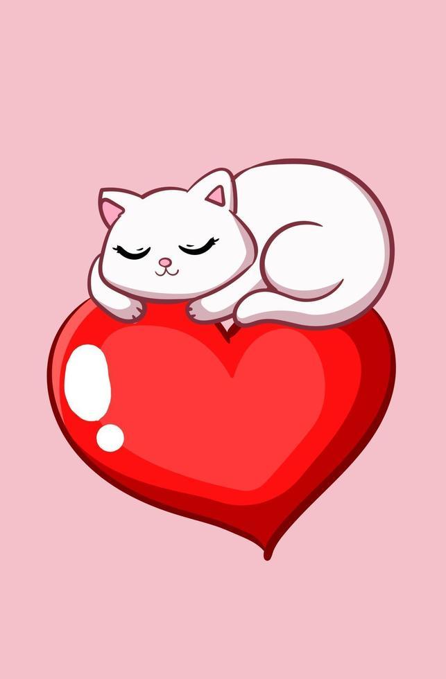 en söt katt sover på en stor hjärta tecknad illustration vektor