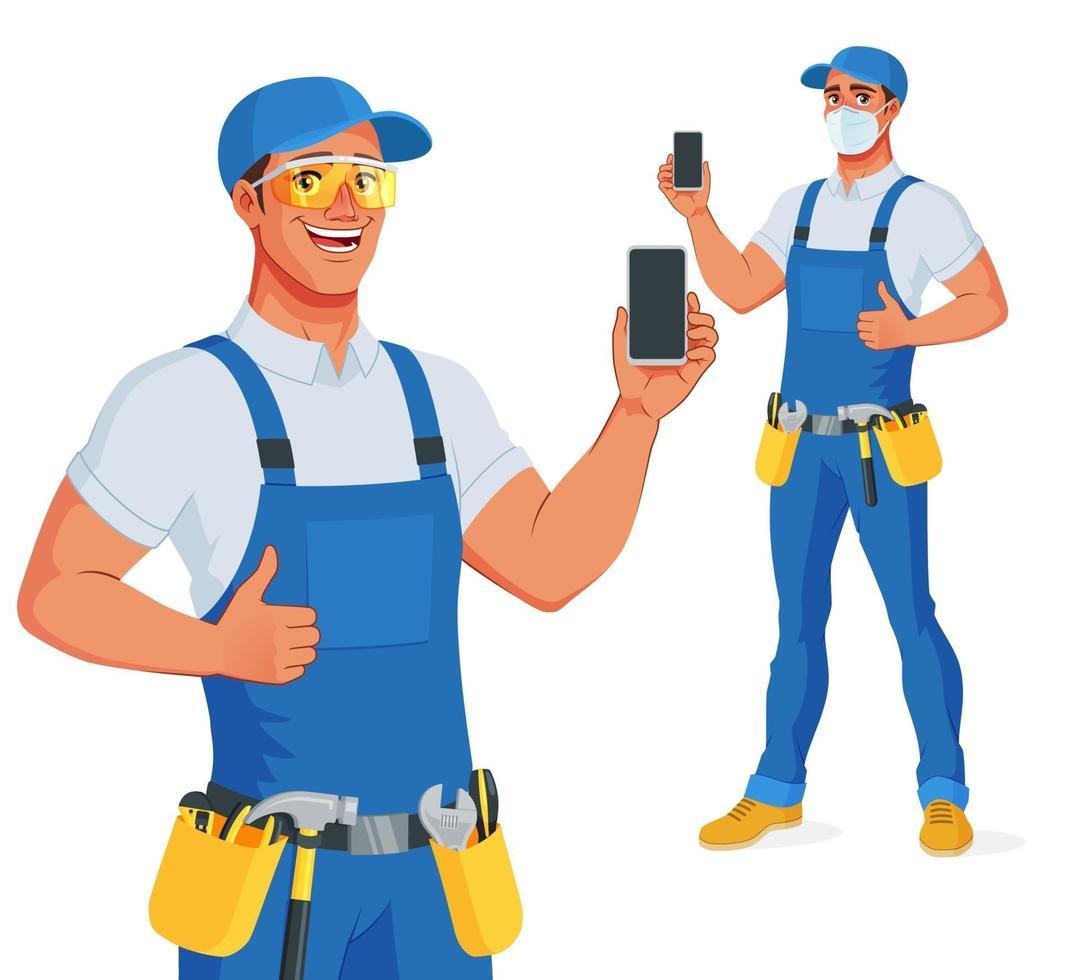 hantverkare i haklappsoveraller och skyddande glasögon som visar smarttelefonens skärm och tummen uppåt. vektor tecknad karaktär isolerad på vit bakgrund.