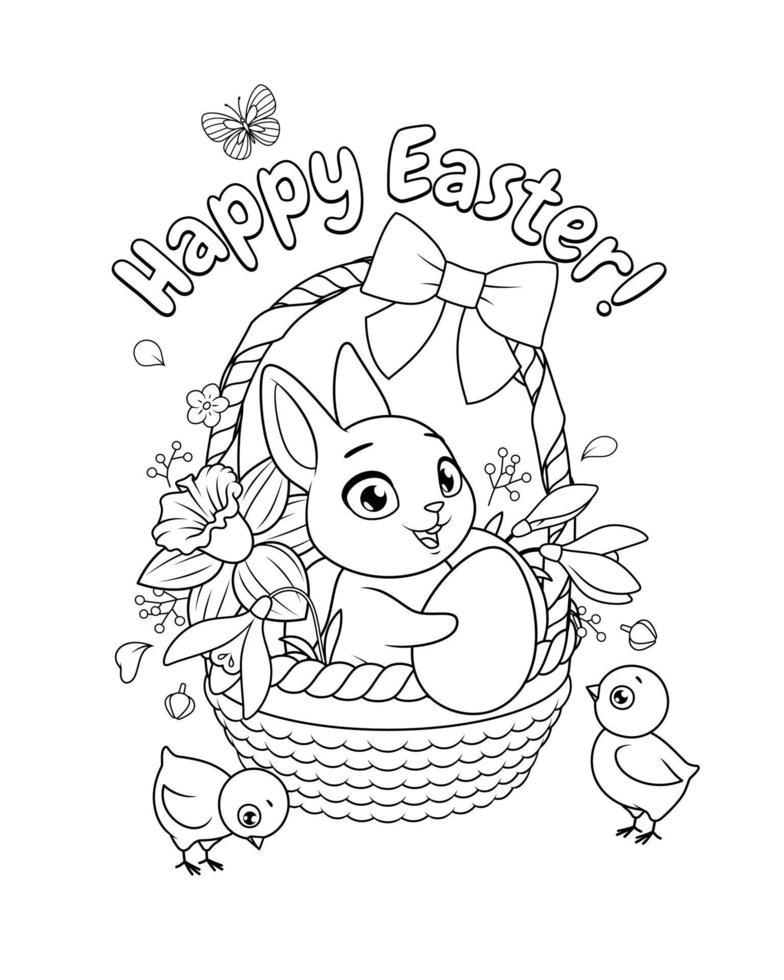 söt kanin och kycklingar med korg full av vårblommor och ägg. glad påskhälsning med tecknad vektor svartvita målarbok sida.