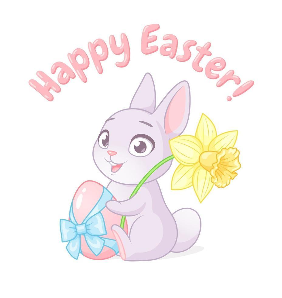 söt liten kanin håller ägg och påsklilja blomma. glad påskhälsning med tecknad vektorillustration isolerad på vit bakgrund. vektor