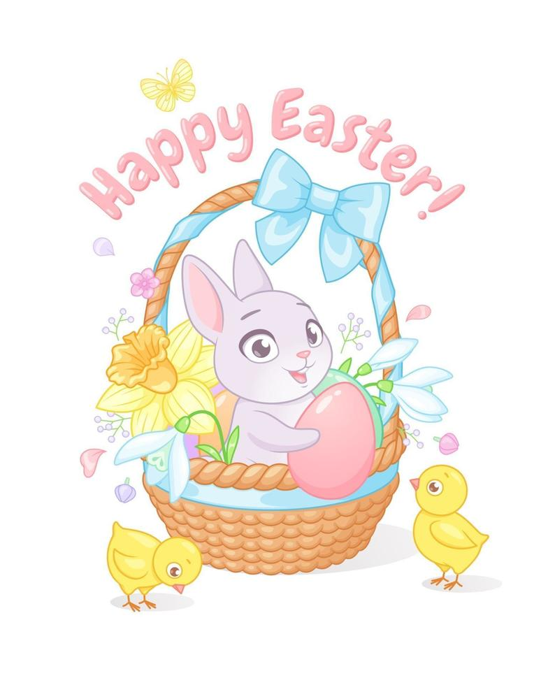 söt liten kanin och kycklingar med korg full av vårblommor och ägg. glad påskhälsning med tecknad vektorillustration på vit bakgrund. vektor