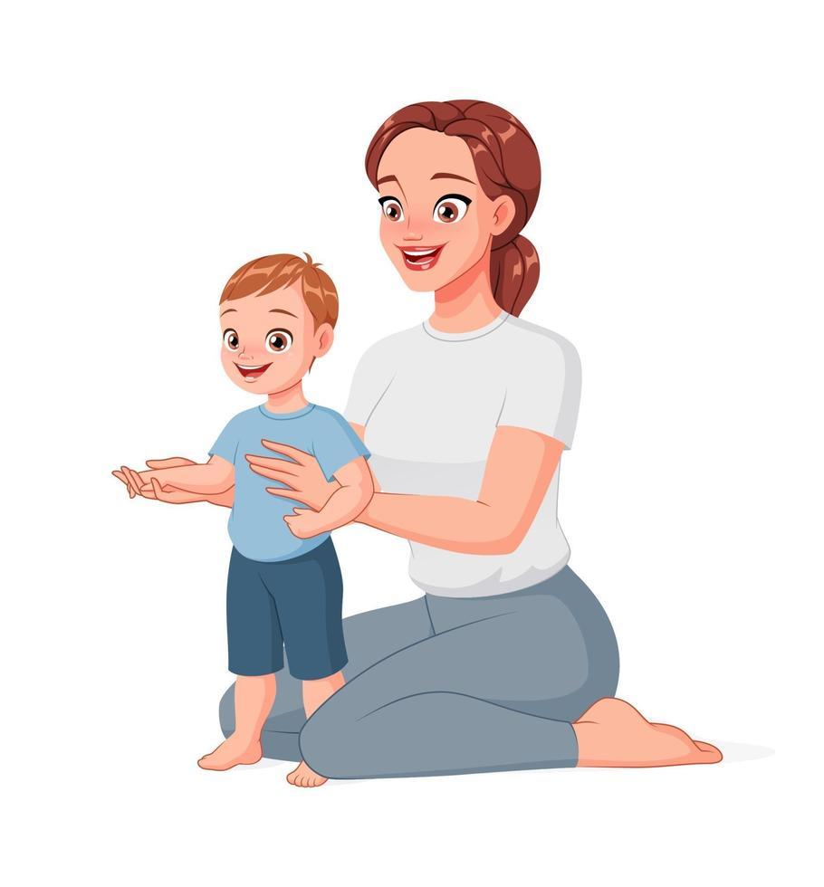 mamma som hjälper sitt barn att ta första steg. tecknad vektorillustration. vektor