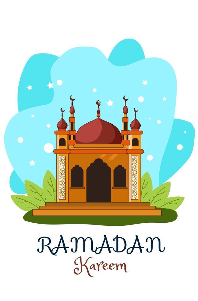 braune Moschee Ramadan Kareem mit blauer Hintergrundkarikaturillustration vektor