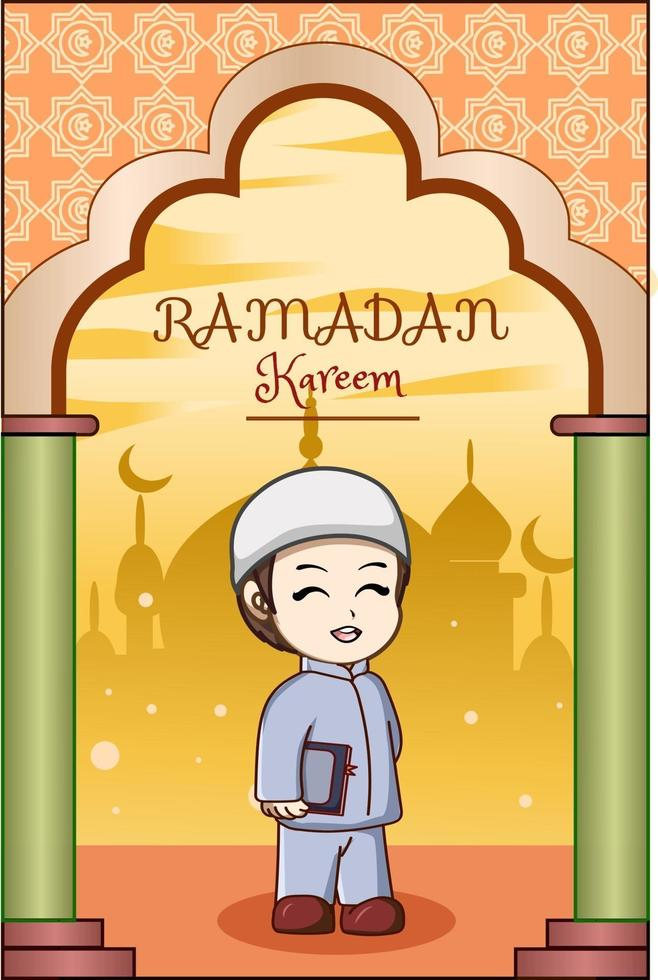 liten pojke bär bok på ramadan kareem tecknad illustration vektor