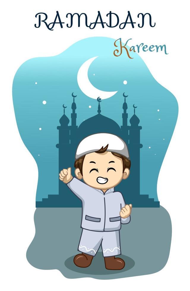 liten glad pojke på ramadan kareem natt tecknad illustration vektor