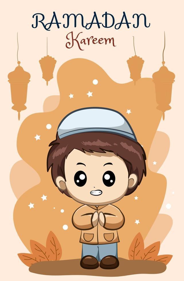 kleiner glücklicher muslimischer Junge bei Ramadan Kareem Karikaturillustration vektor