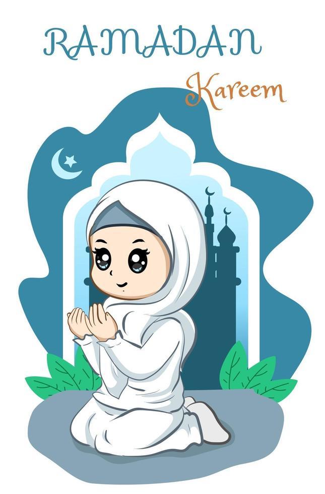 vacker muslimsk tjej ber på ramadan kareem tecknad illustration vektor