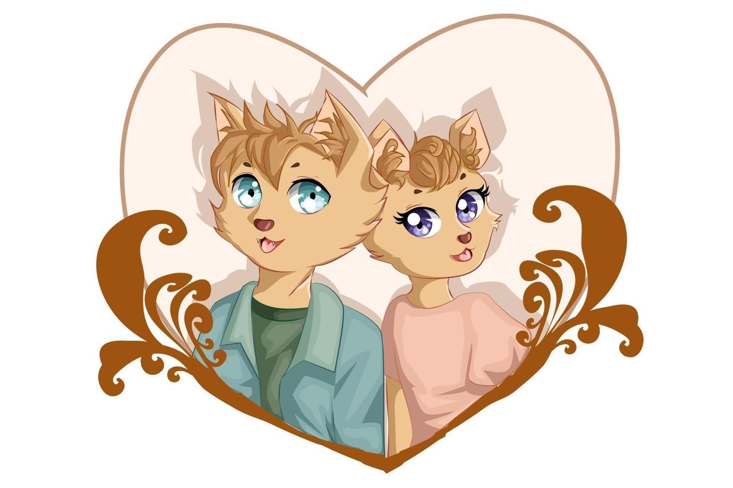 Illustration von Jungen und Mädchen braune Katze Geschwister Tierfiguren vektor