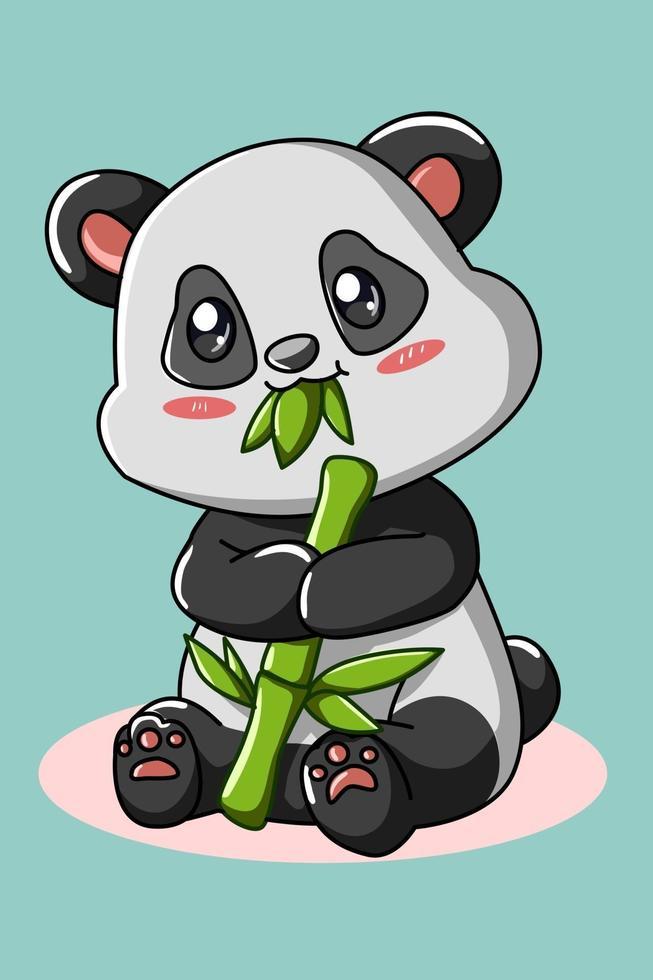 en liten söt panda som äter bambuillustration vektor