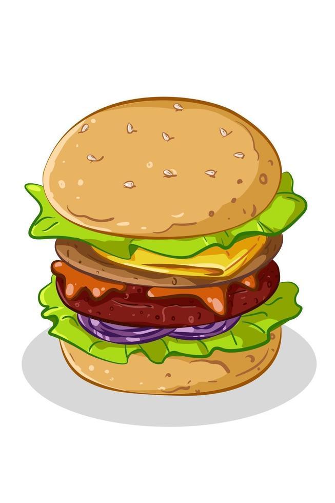 en söt hamburgare vektorillustration vektor