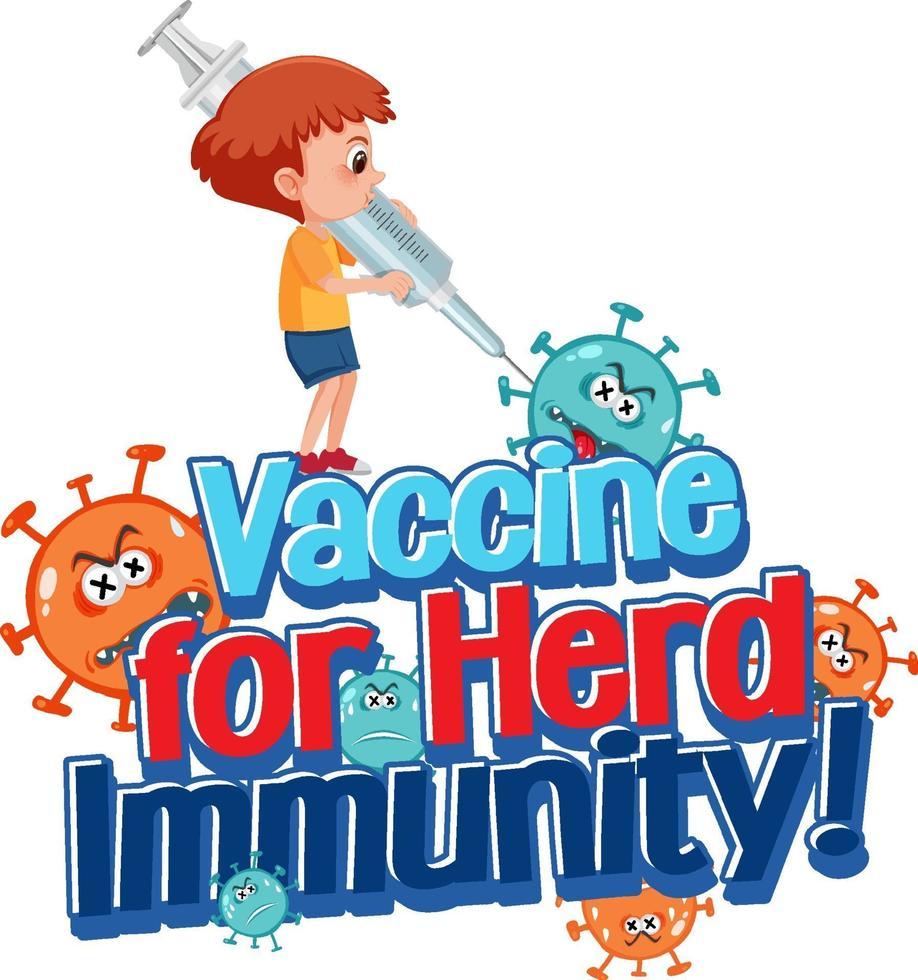 Impfstoff für Herdenimmunitätsschrift mit einem Jungen, der Spritze hält vektor