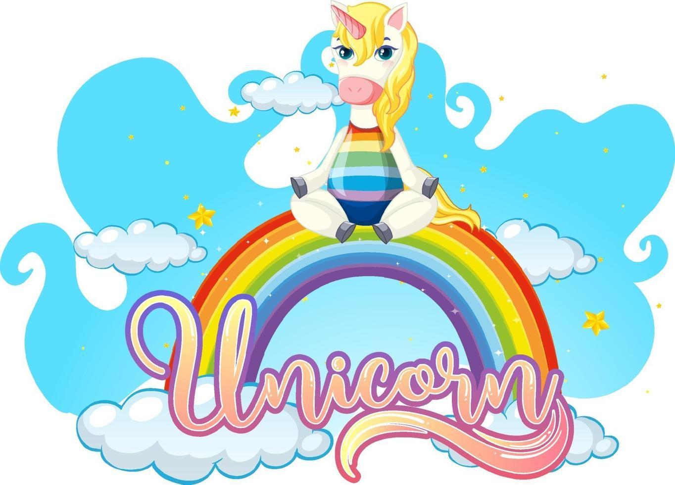 Zeichentrickfigur des Einhorns, das auf Regenbogen mit Einhornschrift steht vektor