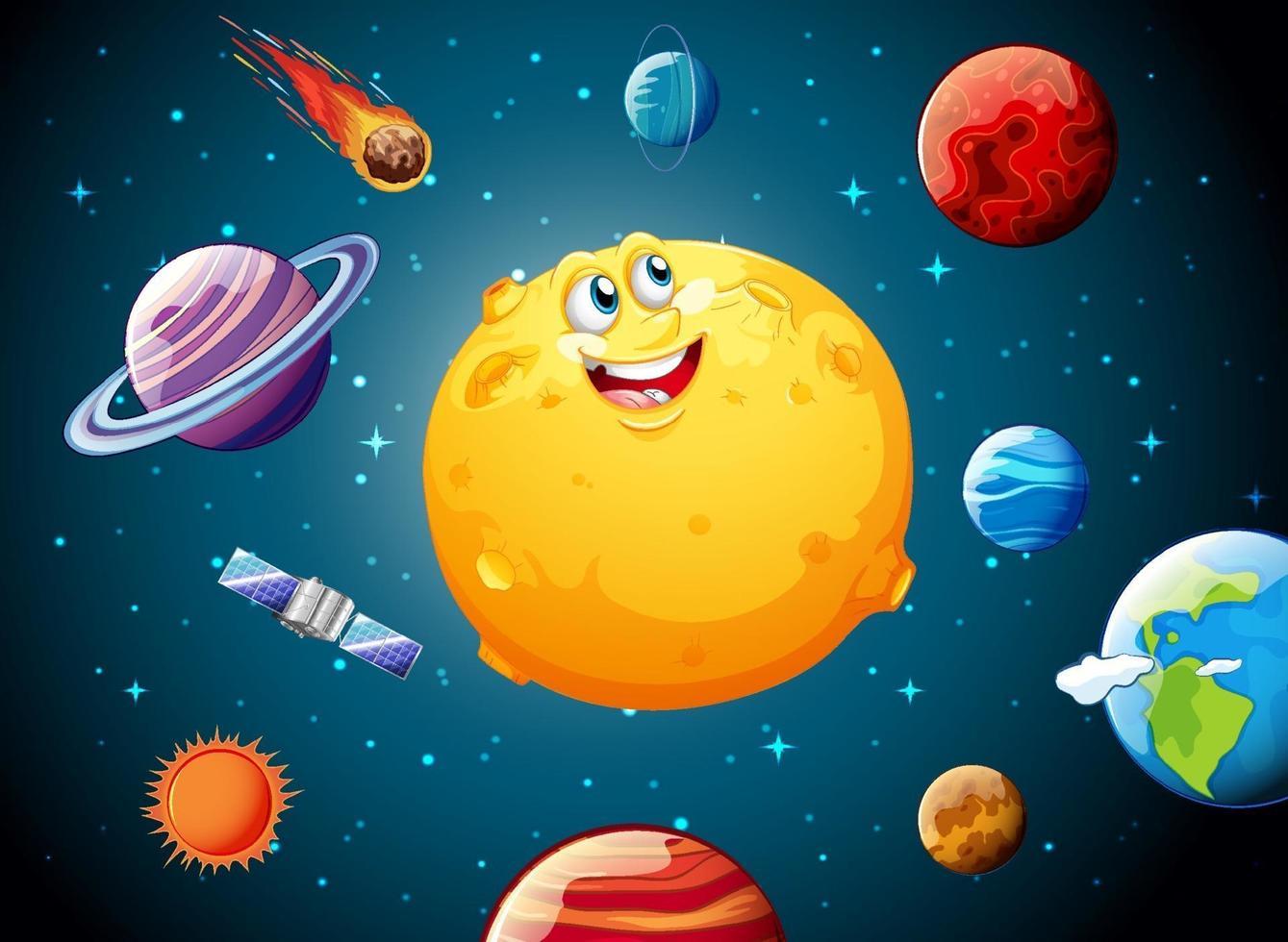 Mond mit glücklichem Gesicht auf Raumgalaxiethemahintergrund vektor