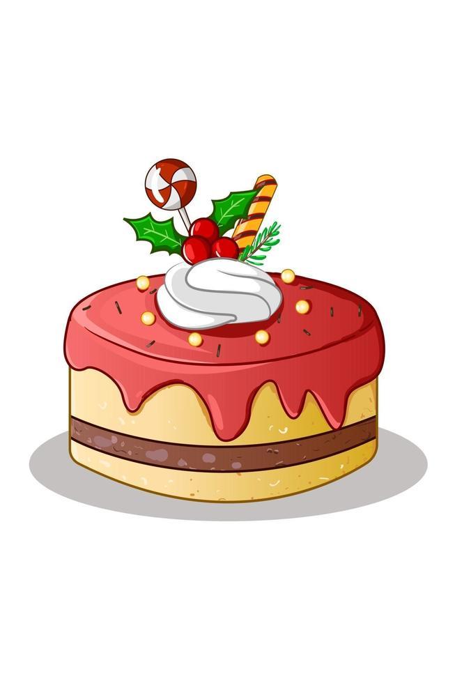 ett rött gult tårta jultema med godis och järnekblad vektor