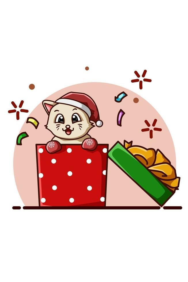 söt katt som bär hatt i julklappen vektor