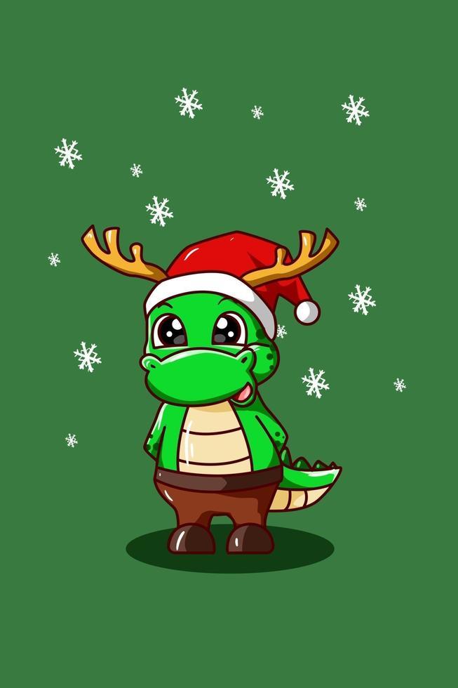 der Dinosaurier trägt ein Weihnachtskostüm mit grünem Hintergrund vektor