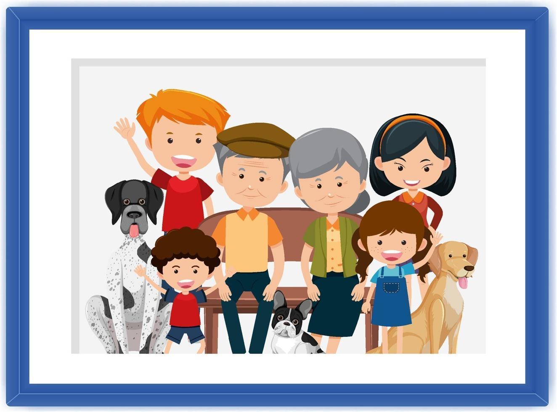 lycklig familjebildtecknad film i en ram vektor
