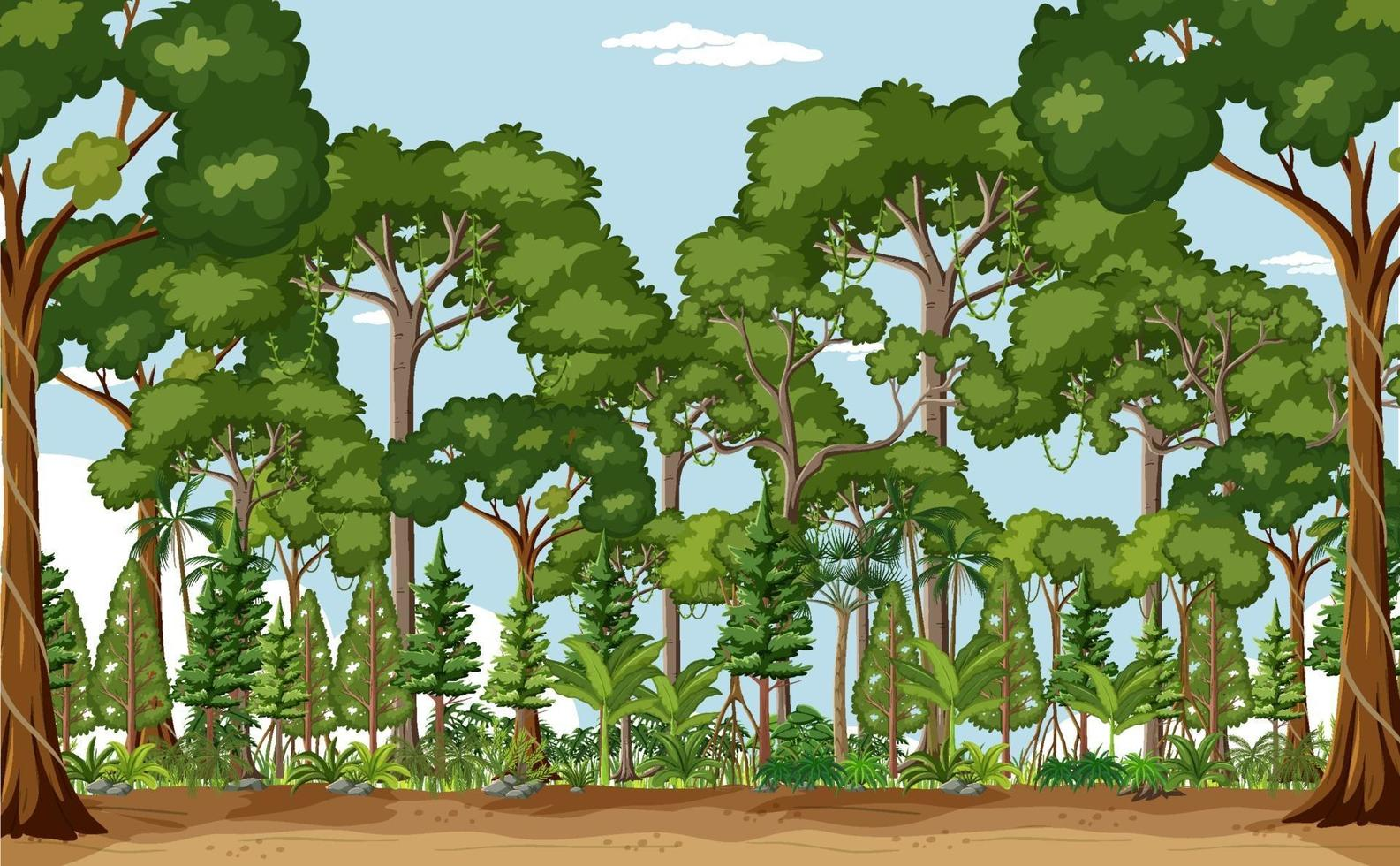 skog scen med många träd på dagtid vektor