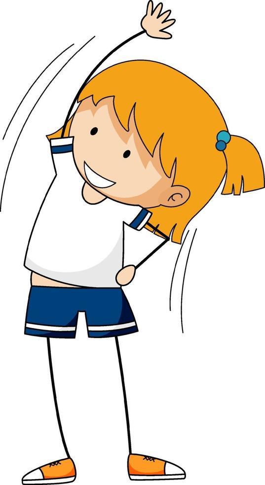 söt tjej som arbetar ut doodle seriefiguren isolerad vektor