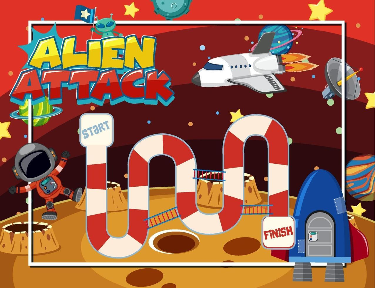 brädspel för barn i yttre rymdmall vektor