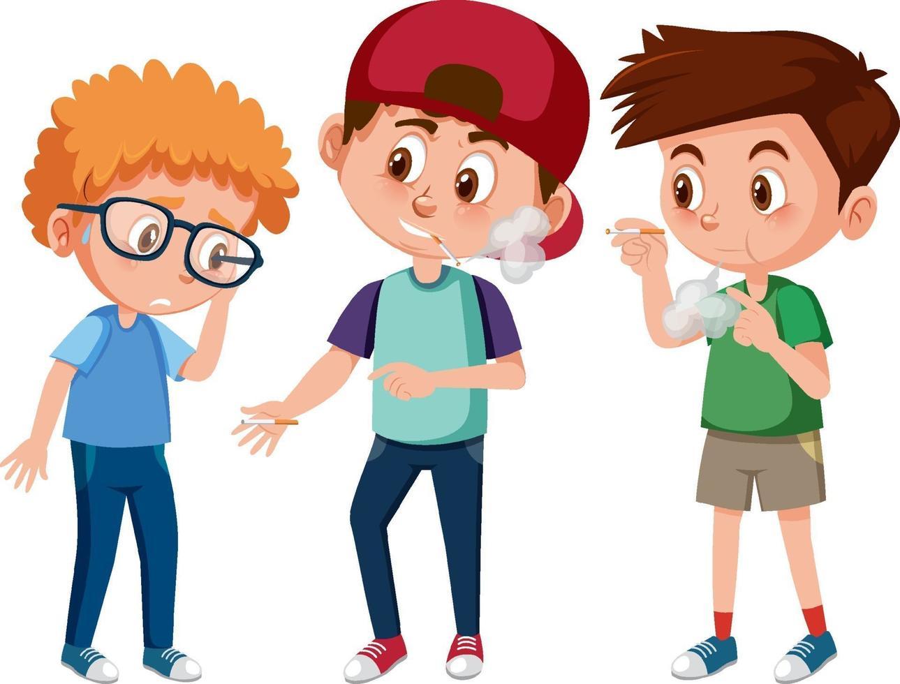 en pojke med besviken ansikte eftersom två pojkar vill att han ska röka vektor