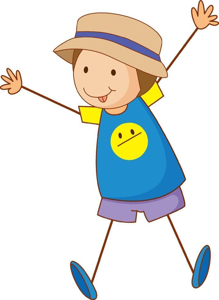 niedlicher Junge Zeichentrickfigur in der Hand gezeichnet Gekritzelart isoliert vektor