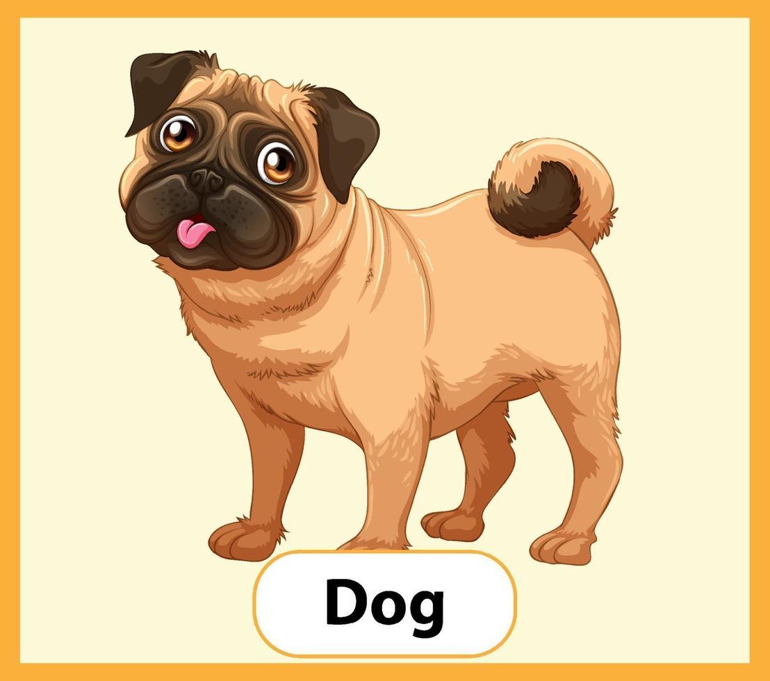 pädagogische englische Wortkarte des Hundes vektor
