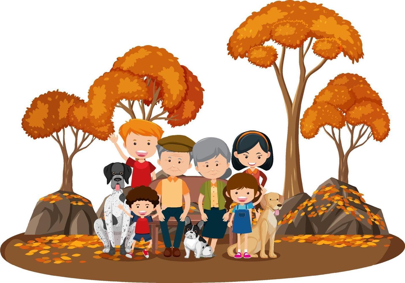 lycklig familj i parken med många höstträd vektor