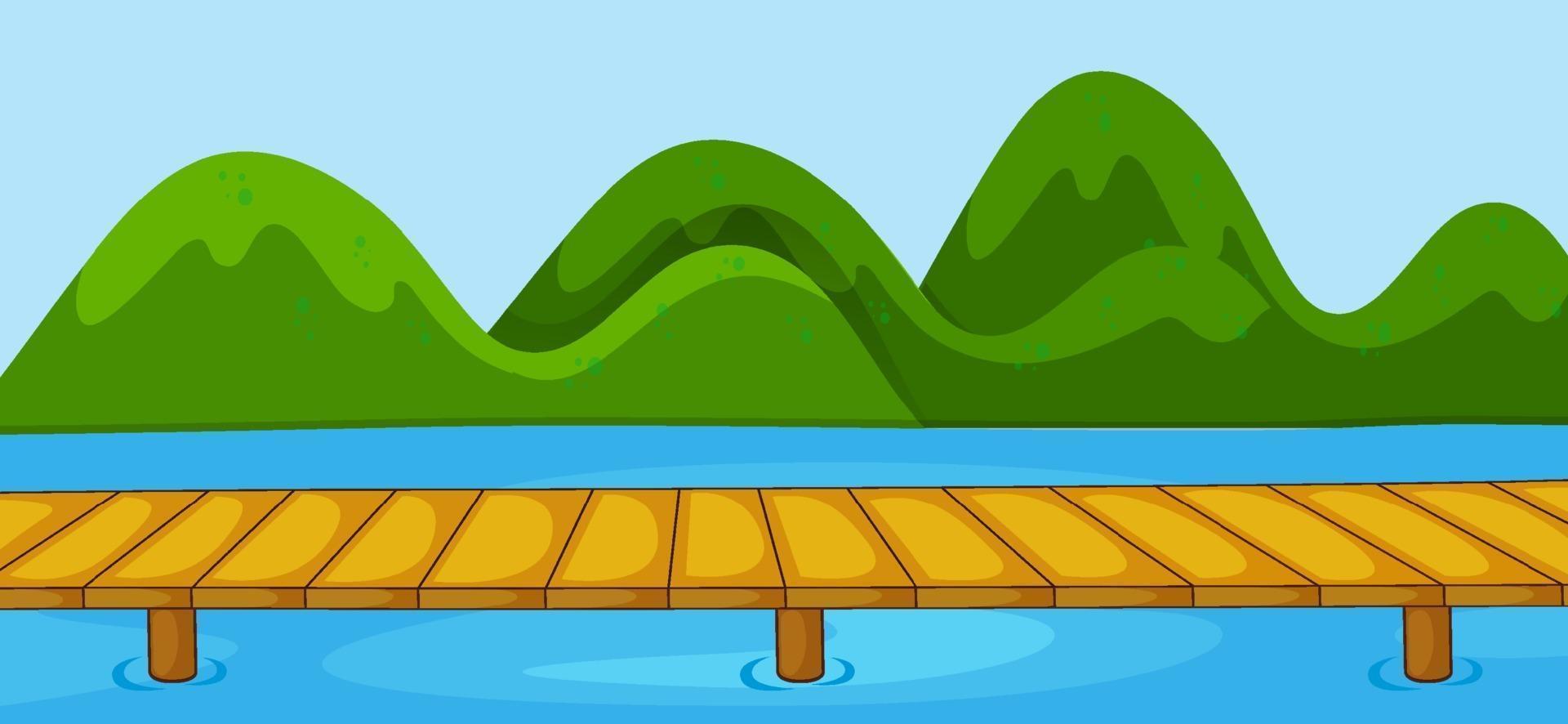 tom parkplats med brokorsflod i enkel stil vektor