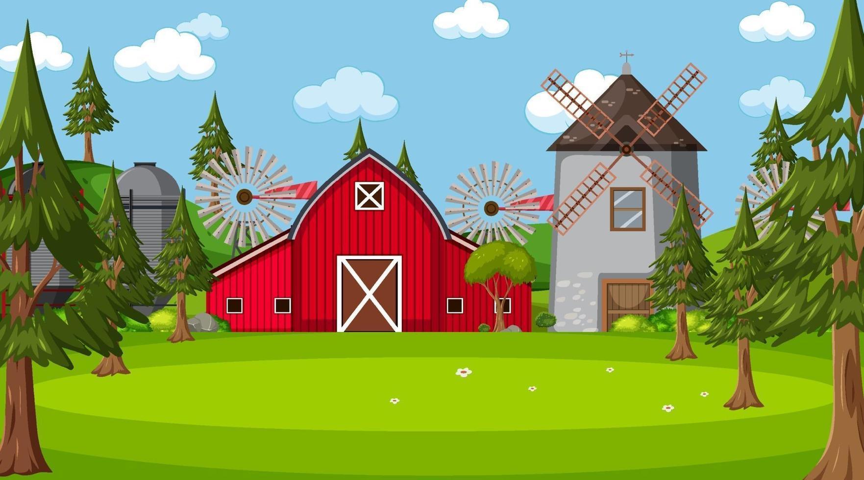 gårdsplats i naturen med ladugård och väderkvarn vektor