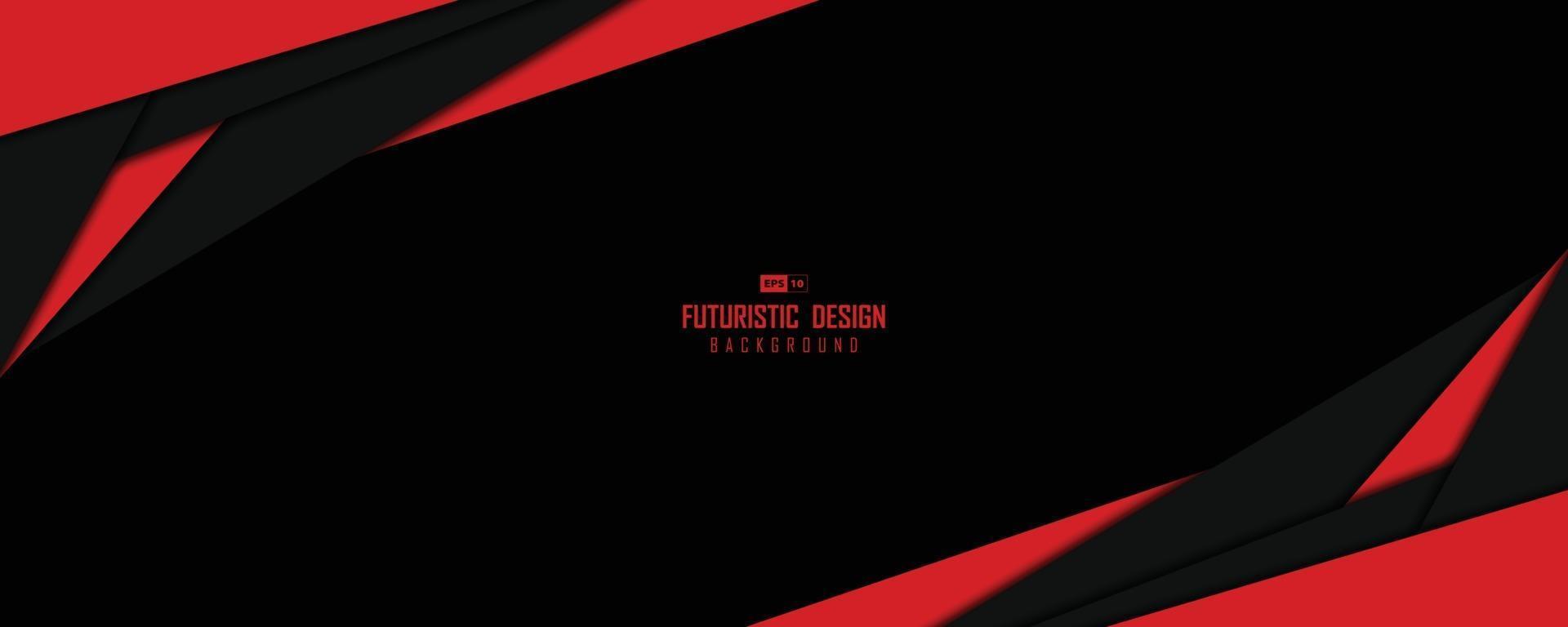 abstraktes weites Fenster des schwarzen und roten Technologievorlageentwurfskunstwerkhintergrunds. Illustrationsvektor eps10 vektor