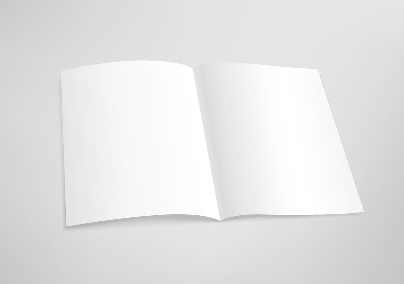 öppnade tomt papper bok. mall för design. vektor mockup