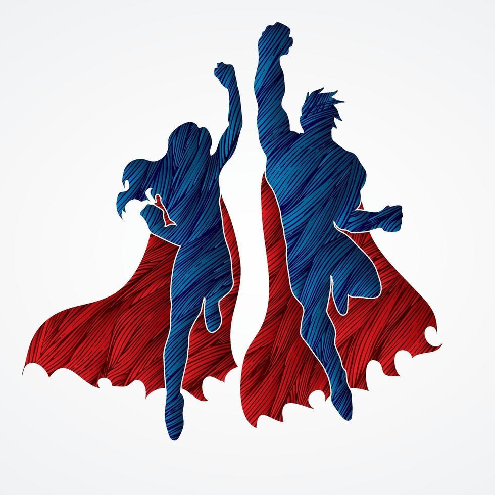 superhjälte manliga och kvinnliga hoppning vektor