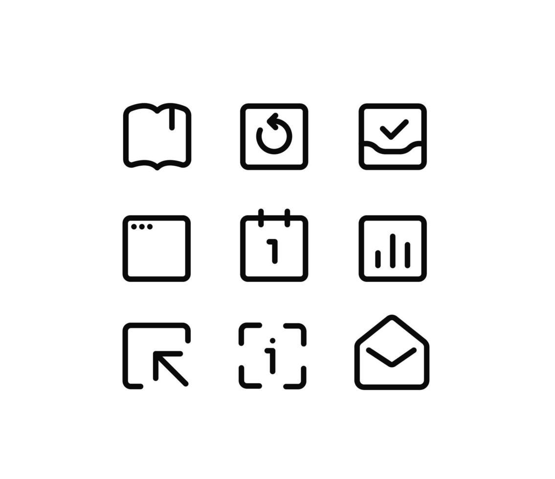 sociala medier tunn linje vektor ikoner på vit bakgrund