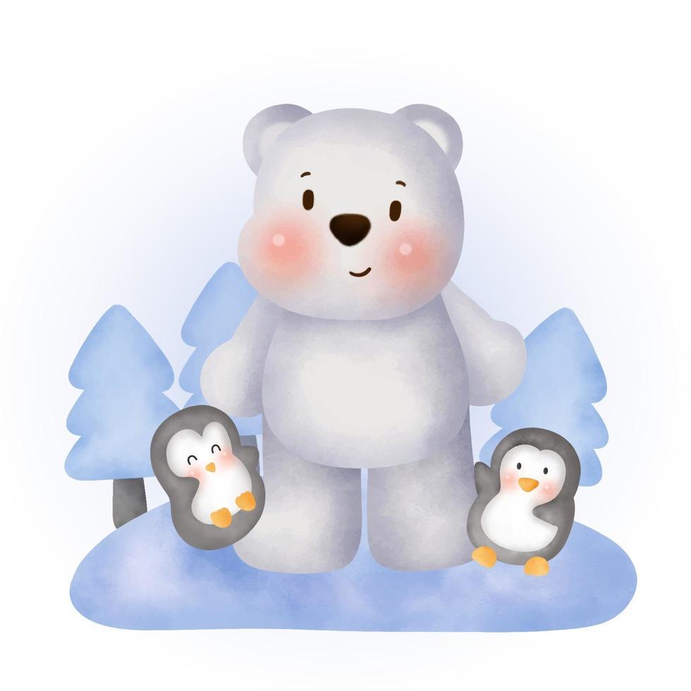 akvarell söt isbjörn och pingviner vektor