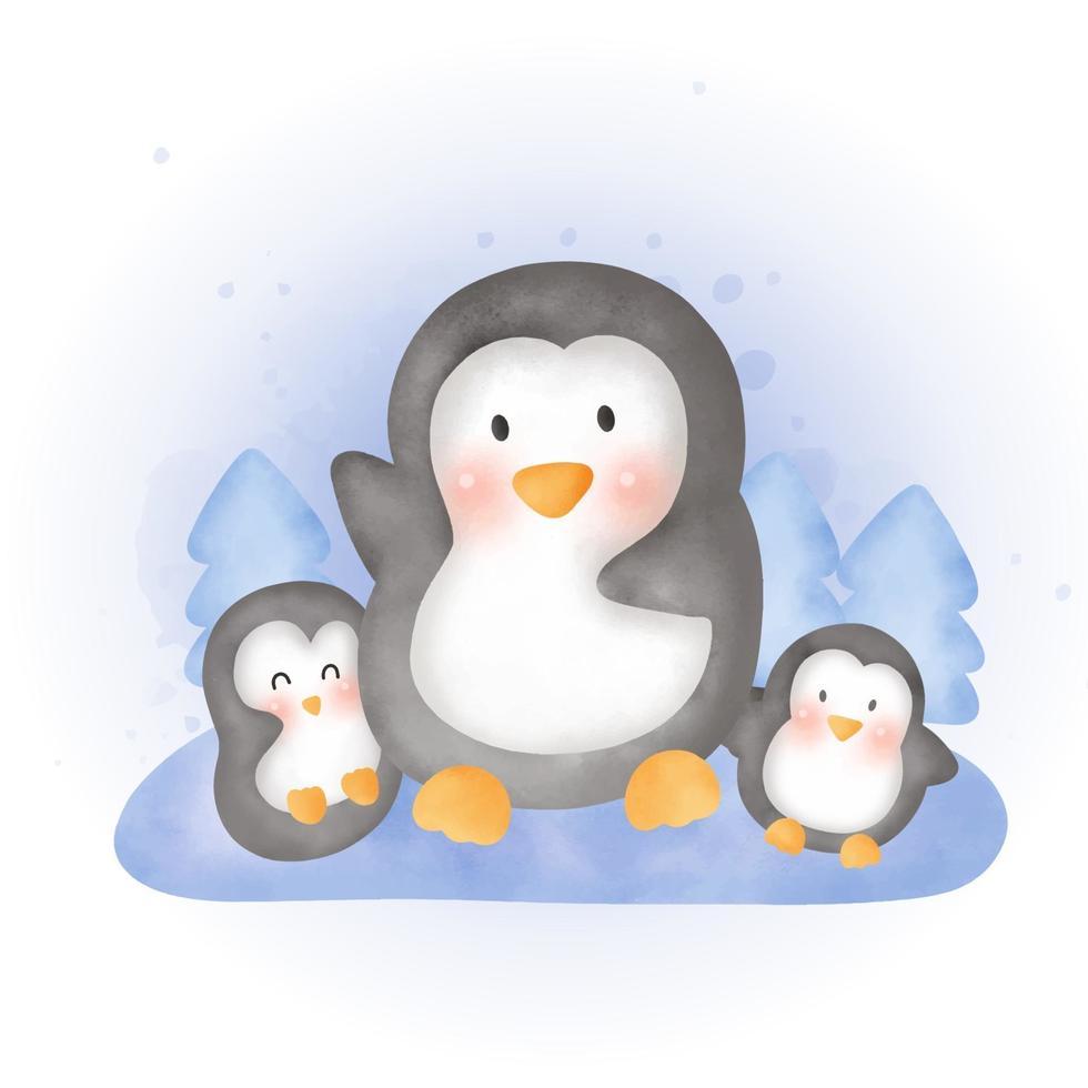 söta akvarell pingviner familj i snöskogen. vektor