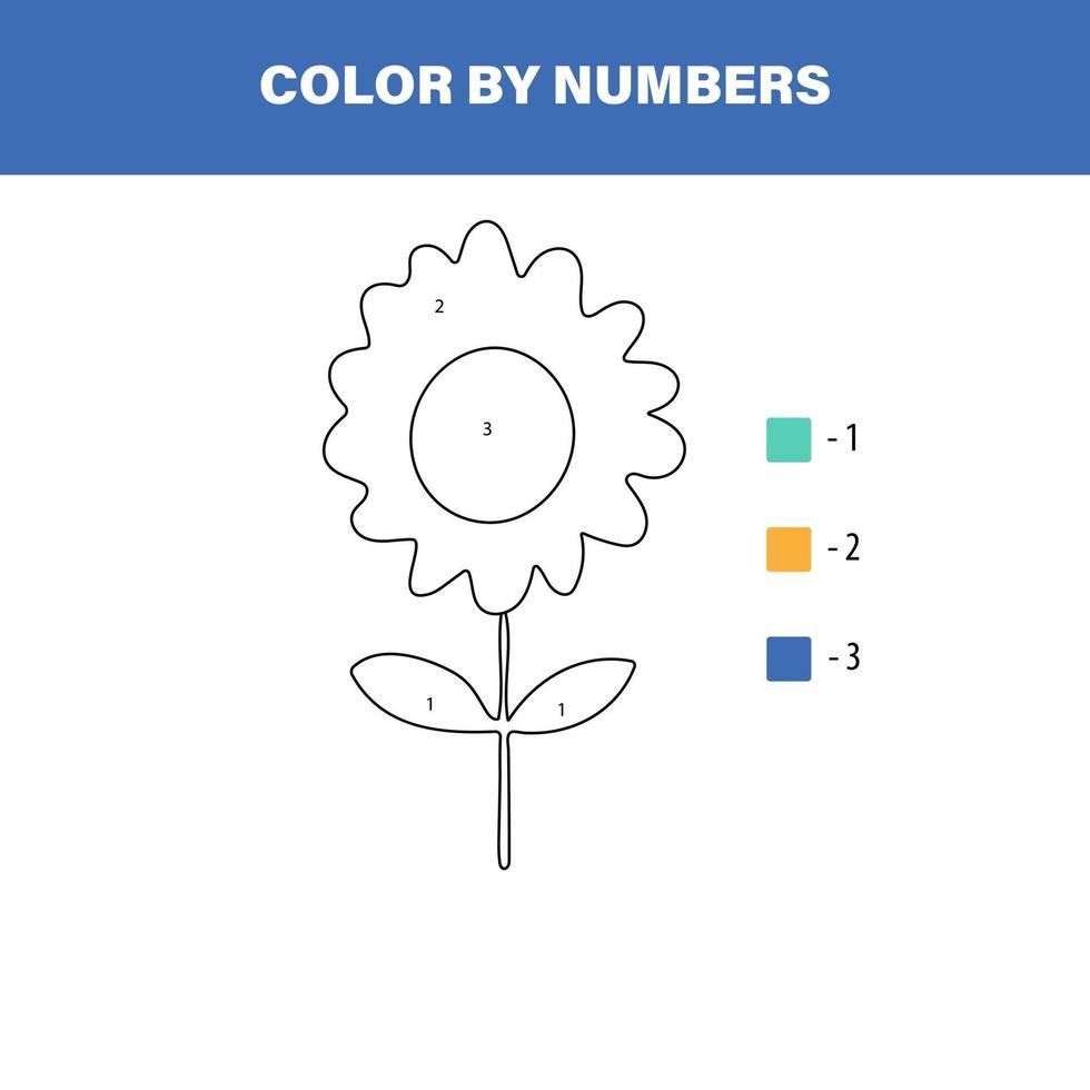 färg söt blomma efter nummer. pedagogiskt matematikspel för barn. målarbok. vektor