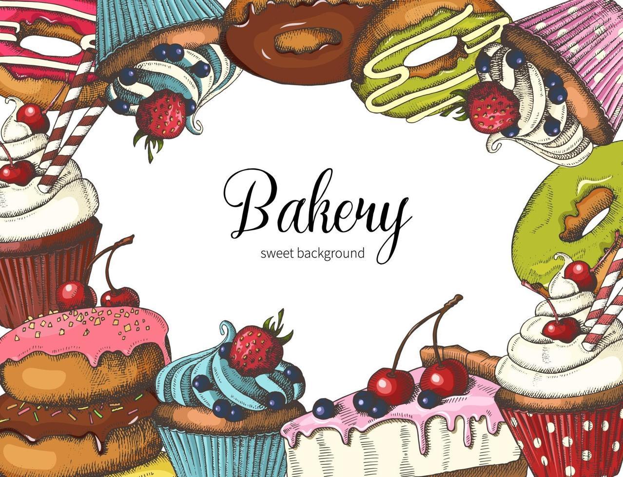 vektor söt bageri design på vitt. handritade munkar, tårta och muffins. öken design för meny, reklam och banners. skiss, bokstäver.