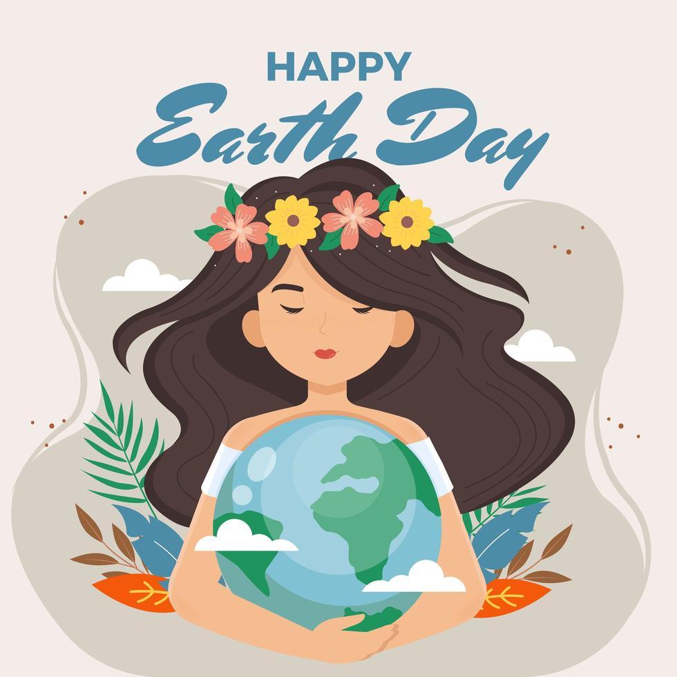 vacker kvinna kramar jorden för att skydda den vektor
