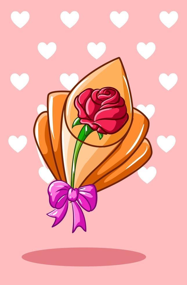 kawaii ros bukett, alla hjärtans dag tecknad illustration vektor