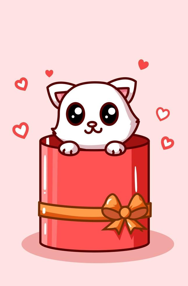 kawaii katt i valentin rutan nuvarande tecknad illustration vektor
