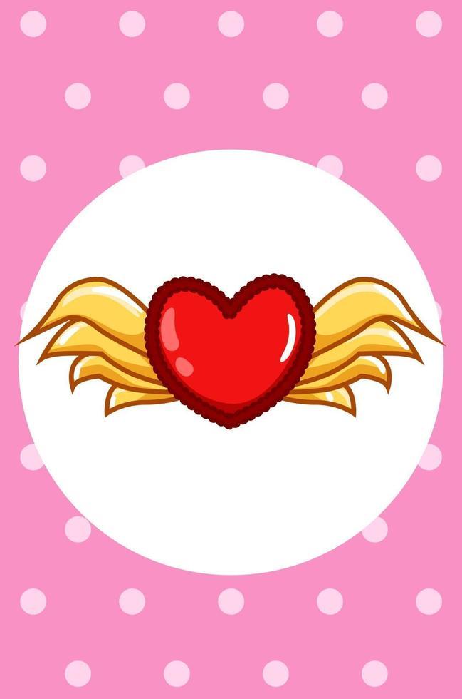kawaii hjärta med vingar, alla hjärtans dag tecknad illustration vektor