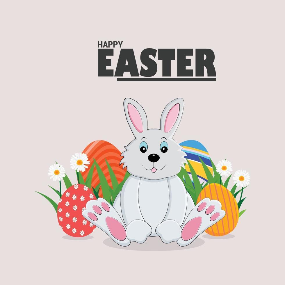 kreativa färgglada målade påskägg och kanin vektor