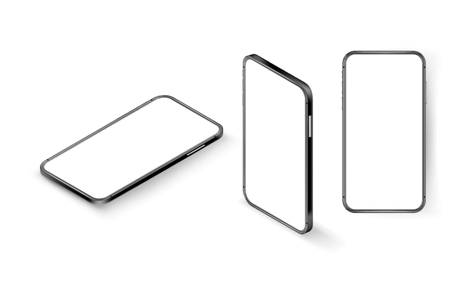 modern smartphone med tom skärm vektor mockup. isometrisk vektorillustration isolerad på vit bakgrund