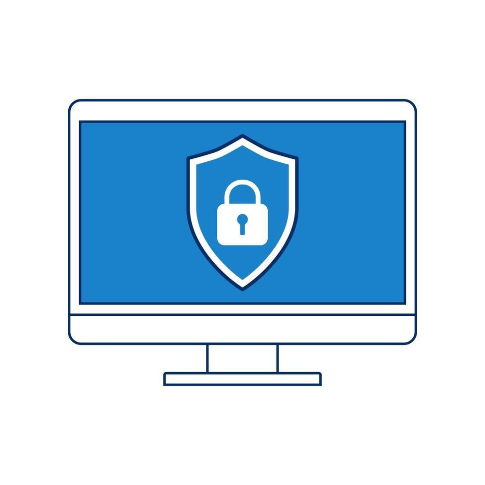Abschirmung mit Monitorbildschirm-Gerätesymbolen flacher Designstil. Sicherheitskonzept. Vektorillustration vektor