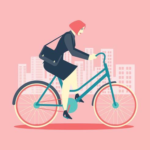 Cool Kvinna Affärsman Ridning Cykel Till Kontor vektor
